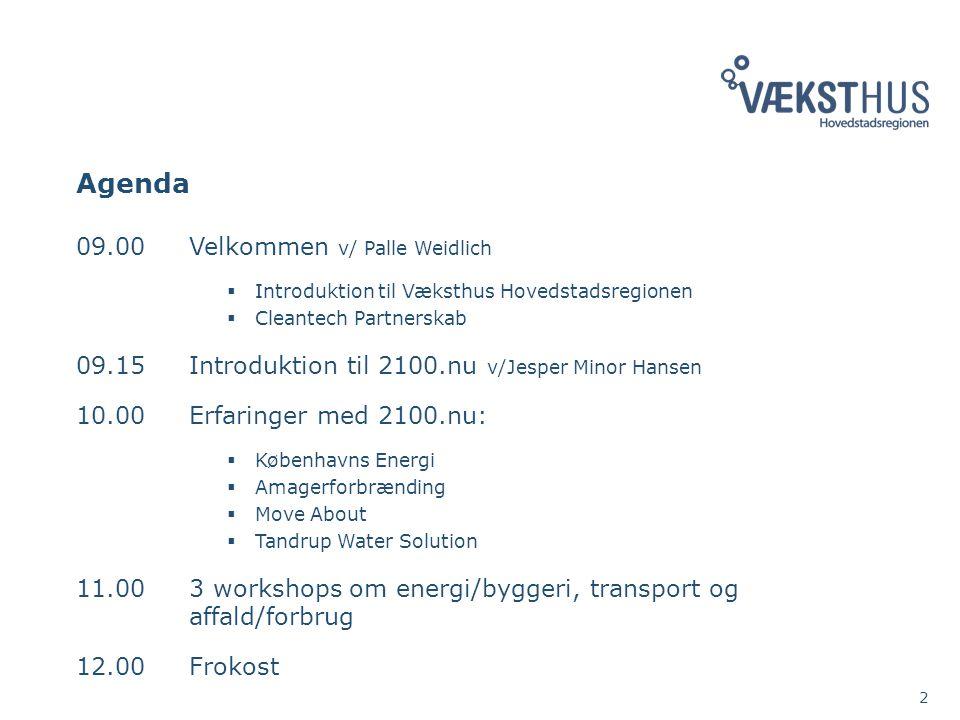 Agenda 09.00Velkommen v/ Palle Weidlich  Introduktion til Væksthus Hovedstadsregionen  Cleantech Partnerskab 09.15Introduktion til 2100.nu v/Jesper Minor Hansen 10.00Erfaringer med 2100.nu:  Københavns Energi  Amagerforbrænding  Move About  Tandrup Water Solution 11.003 workshops om energi/byggeri, transport og affald/forbrug 12.00Frokost 2
