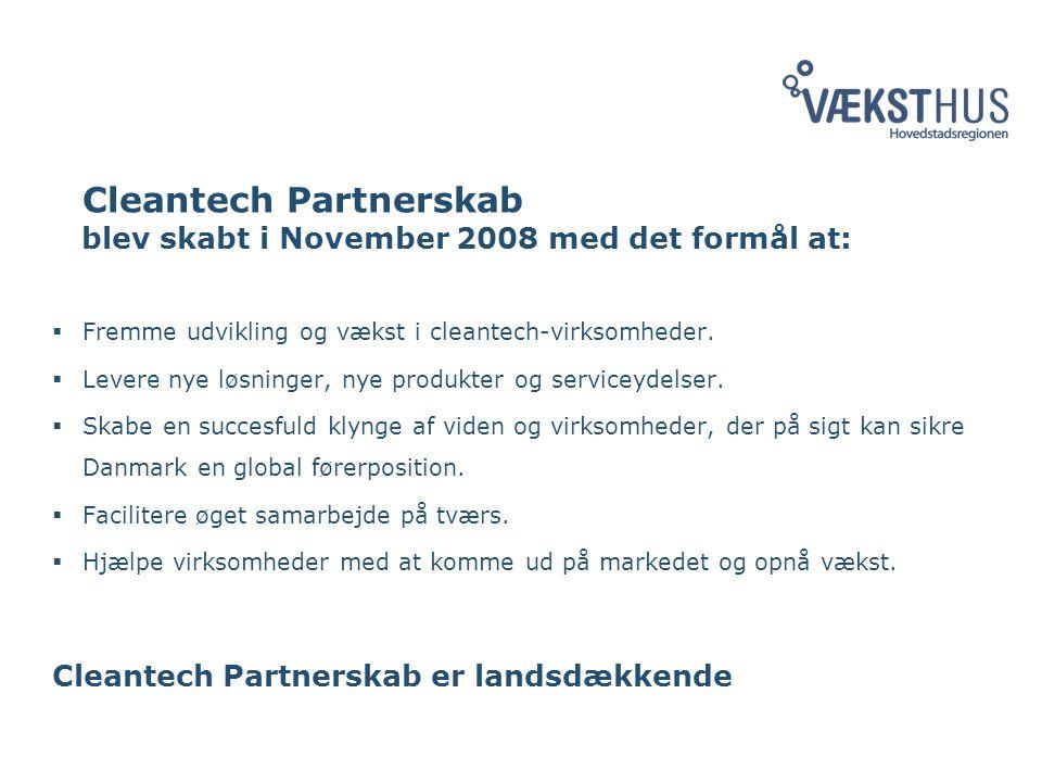 Cleantech Partnerskab blev skabt i November 2008 med det formål at:  Fremme udvikling og vækst i cleantech-virksomheder.