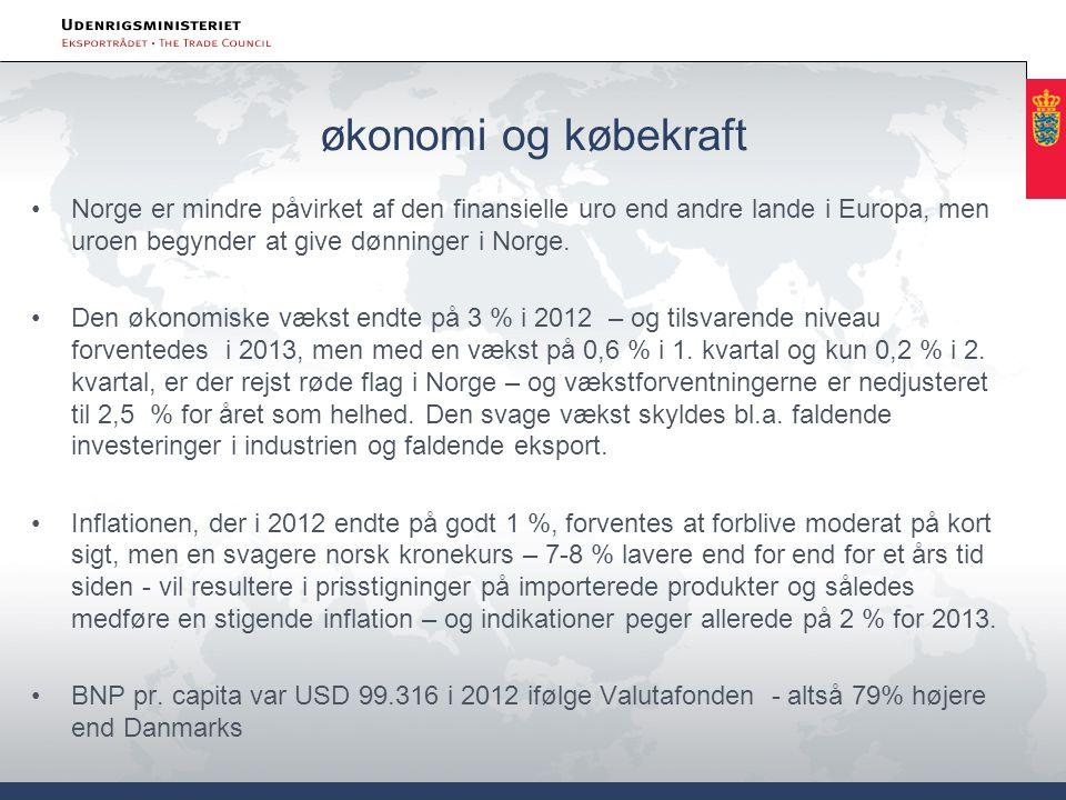 økonomi og købekraft •Norge er mindre påvirket af den finansielle uro end andre lande i Europa, men uroen begynder at give dønninger i Norge.