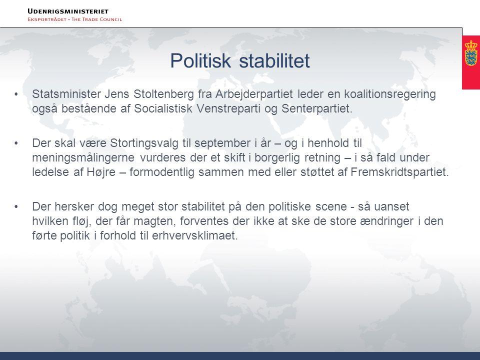 Politisk stabilitet •Statsminister Jens Stoltenberg fra Arbejderpartiet leder en koalitionsregering også bestående af Socialistisk Venstreparti og Senterpartiet.