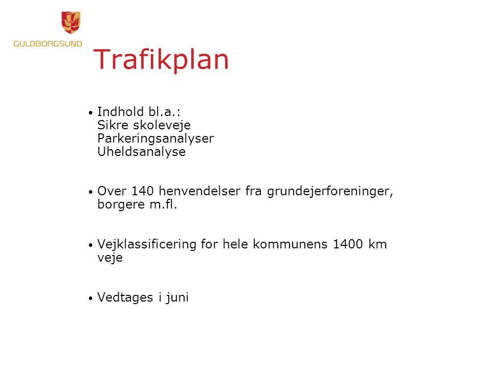 Trafikplan • Indhold bl.a.: Sikre skoleveje Parkeringsanalyser Uheldsanalyse • Over 140 henvendelser fra grundejerforeninger, borgere m.fl.