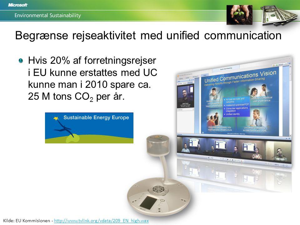 Kilde: EU Kommisionen - http://www.tvlink.org/vdata/209_EN_high.waxhttp://www.tvlink.org/vdata/209_EN_high.wax Begrænse rejseaktivitet med unified communication Hvis 20% af forretningsrejser i EU kunne erstattes med UC kunne man i 2010 spare ca.