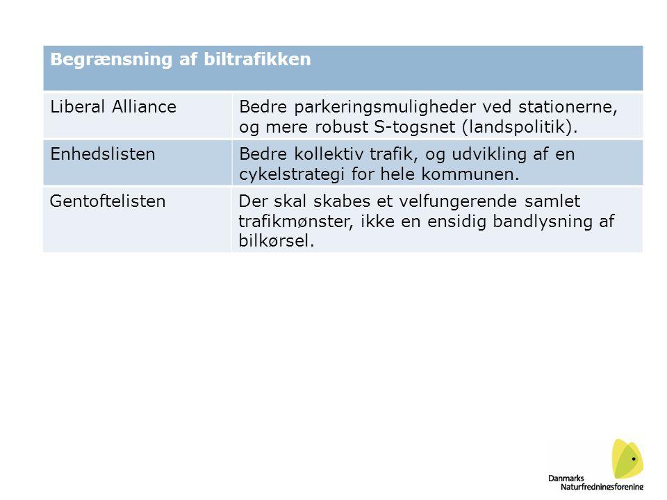 Liberal AllianceBedre parkeringsmuligheder ved stationerne, og mere robust S-togsnet (landspolitik).