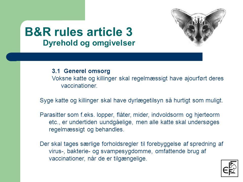 B&R rules article 3 Dyrehold og omgivelser 3.1 Generel omsorg Voksne katte og killinger skal regelmæssigt have ajourført deres vaccinationer.