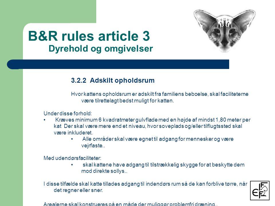 B&R rules article 3 Dyrehold og omgivelser 3.2.2 Adskilt opholdsrum Hvor kattens opholdsrum er adskilt fra familiens beboelse, skal faciliteterne være tilrettelagt bedst muligt for katten.
