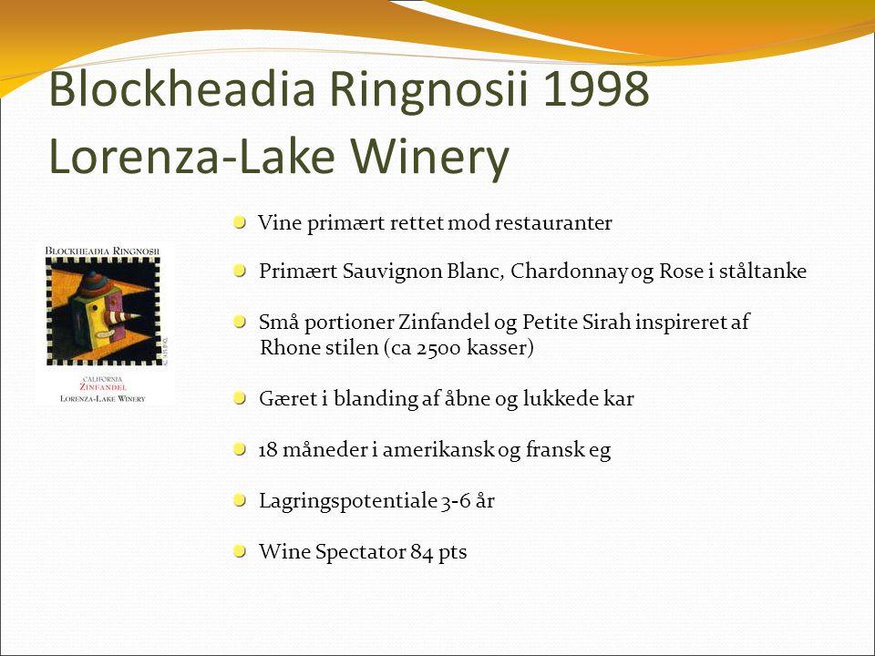 Blockheadia Ringnosii 1998 Lorenza-Lake Winery Vine primært rettet mod restauranter Primært Sauvignon Blanc, Chardonnay og Rose i ståltanke Små portioner Zinfandel og Petite Sirah inspireret af Rhone stilen (ca 2500 kasser) Gæret i blanding af åbne og lukkede kar 18 måneder i amerikansk og fransk eg Lagringspotentiale 3-6 år Wine Spectator 84 pts