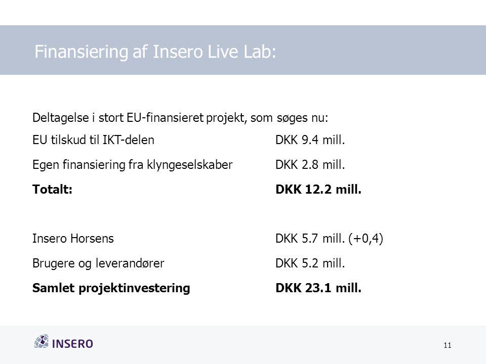 Tekstslide med bullets Brug 'Forøge/Formindske indryk'-knappen for at skifte mellem de forskellige niveauer Finansiering af Insero Live Lab: 11 Dato Deltagelse i stort EU-finansieret projekt, som søges nu: EU tilskud til IKT-delen DKK 9.4 mill.