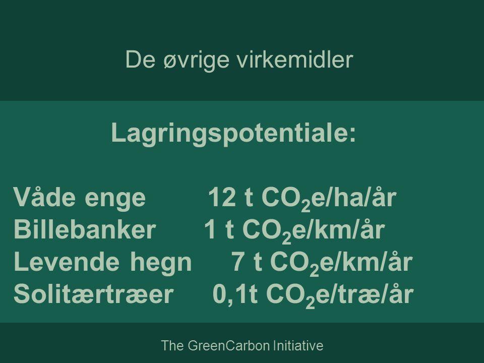Lagringspotentiale: Våde enge 12 t CO 2 e/ha/år Billebanker 1 t CO 2 e/km/år Levende hegn 7 t CO 2 e/km/år Solitærtræer 0,1t CO 2 e/træ/år De øvrige virkemidler