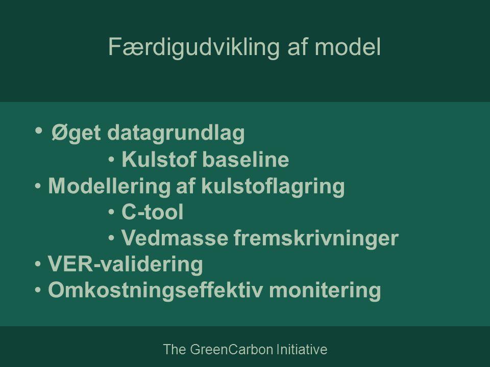 The GreenCarbon Initiative Færdigudvikling af model • Øget datagrundlag • Kulstof baseline • Modellering af kulstoflagring • C-tool • Vedmasse fremskrivninger • VER-validering • Omkostningseffektiv monitering