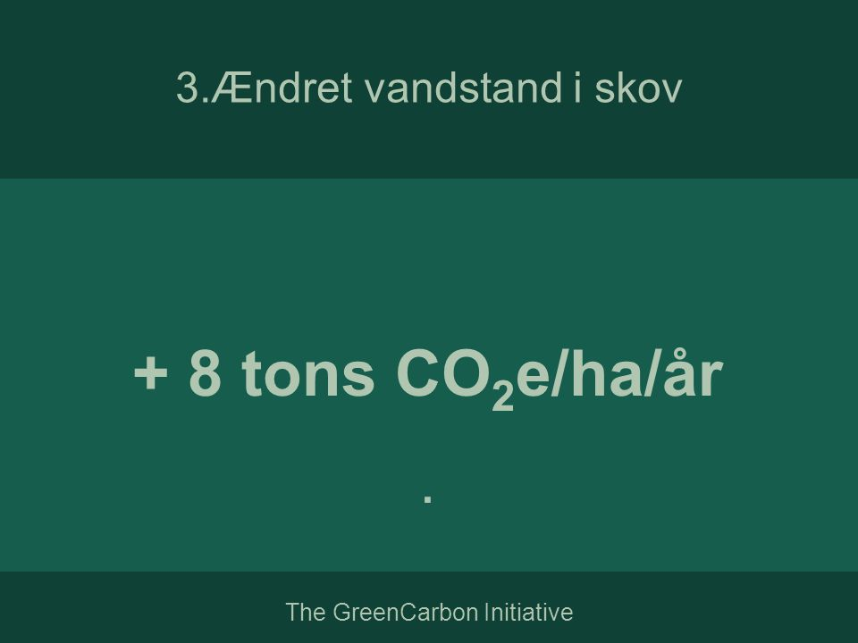 The GreenCarbon Initiative + 8 tons CO 2 e/ha/år. 3.Ændret vandstand i skov
