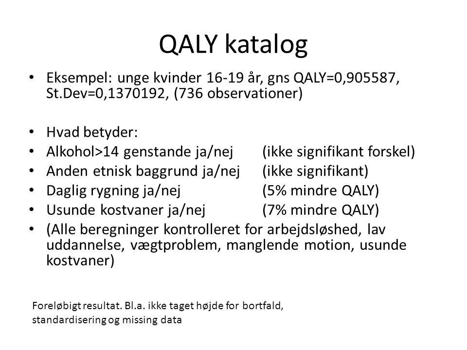 QALY katalog • Eksempel: unge kvinder 16-19 år, gns QALY=0,905587, St.Dev=0,1370192, (736 observationer) • Hvad betyder: • Alkohol>14 genstande ja/nej