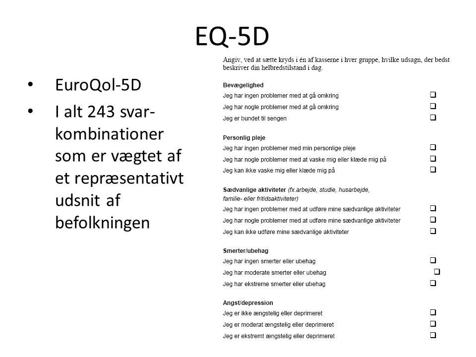 • EuroQol-5D • I alt 243 svar- kombinationer som er vægtet af et repræsentativt udsnit af befolkningen EQ-5D