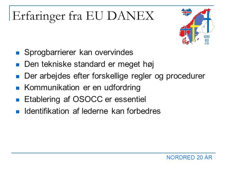 NORDRED 20 ÅR Erfaringer fra EU DANEX  Sprogbarrierer kan overvindes  Den tekniske standard er meget høj  Der arbejdes efter forskellige regler og procedurer  Kommunikation er en udfordring  Etablering af OSOCC er essentiel  Identifikation af lederne kan forbedres