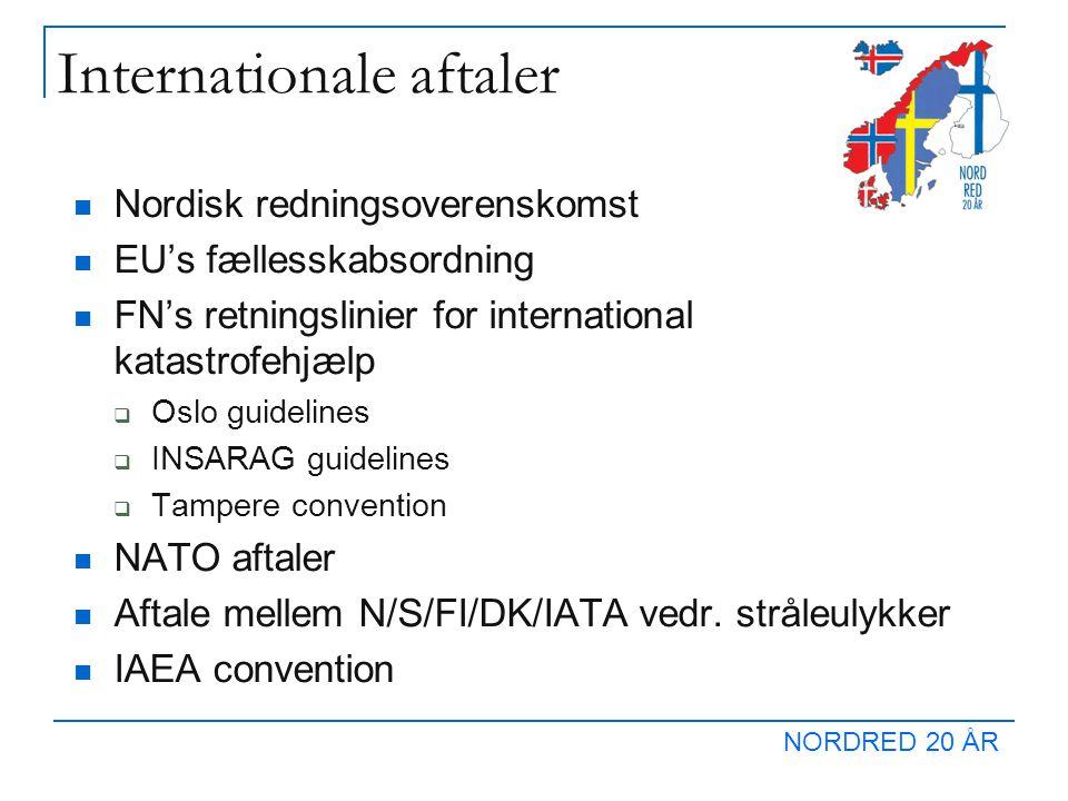 NORDRED 20 ÅR Internationale aftaler  Nordisk redningsoverenskomst  EU's fællesskabsordning  FN's retningslinier for international katastrofehjælp  Oslo guidelines  INSARAG guidelines  Tampere convention  NATO aftaler  Aftale mellem N/S/FI/DK/IATA vedr.