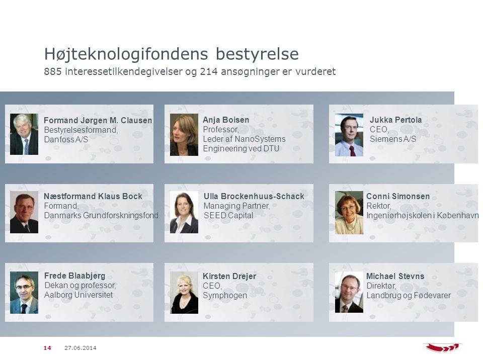 27.06.201414 Højteknologifondens bestyrelse 885 interessetilkendegivelser og 214 ansøgninger er vurderet Formand Jørgen M.