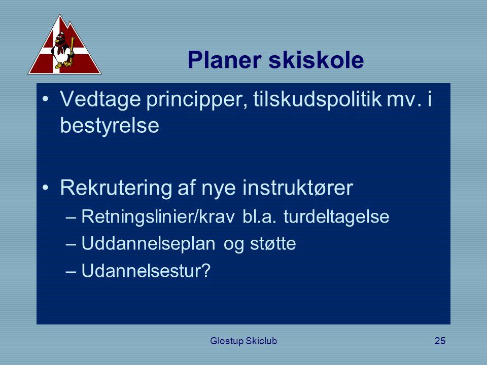 Planer skiskole •Vedtage principper, tilskudspolitik mv.