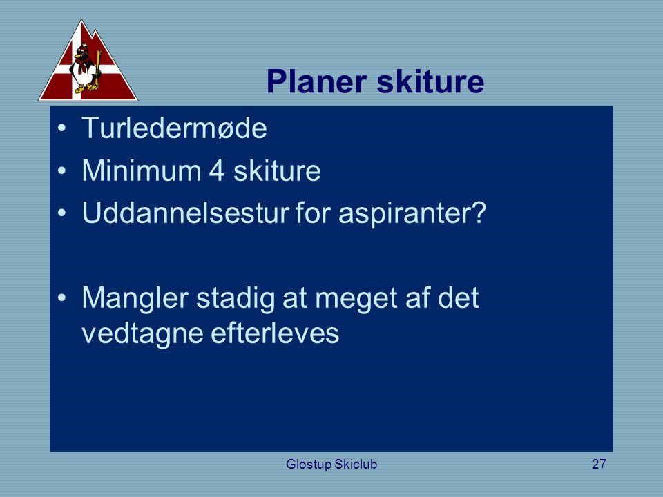 Planer skiture •Turledermøde •Minimum 4 skiture •Uddannelsestur for aspiranter.