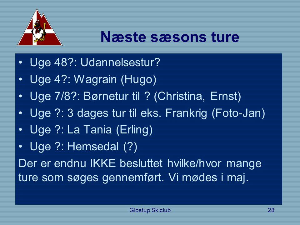 Næste sæsons ture •Uge 48 : Udannelsestur. •Uge 4 : Wagrain (Hugo) •Uge 7/8 : Børnetur til .