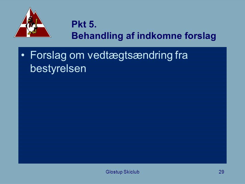 Pkt 5. Behandling af indkomne forslag •Forslag om vedtægtsændring fra bestyrelsen Glostup Skiclub29