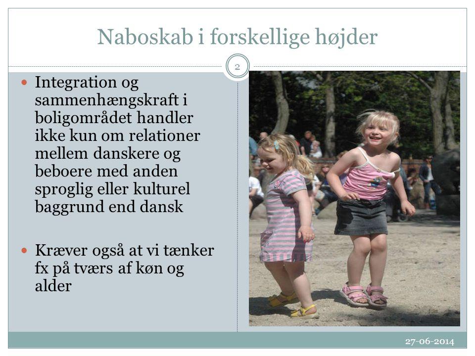 Naboskab i forskellige højder 27-06-2014 2  Integration og sammenhængskraft i boligområdet handler ikke kun om relationer mellem danskere og beboere med anden sproglig eller kulturel baggrund end dansk  Kræver også at vi tænker fx på tværs af køn og alder