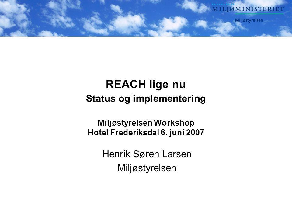 REACH lige nu Status og implementering Miljøstyrelsen Workshop Hotel Frederiksdal 6.