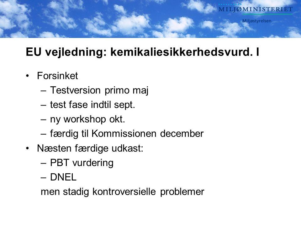 EU vejledning: kemikaliesikkerhedsvurd. I •Forsinket –Testversion primo maj –test fase indtil sept.