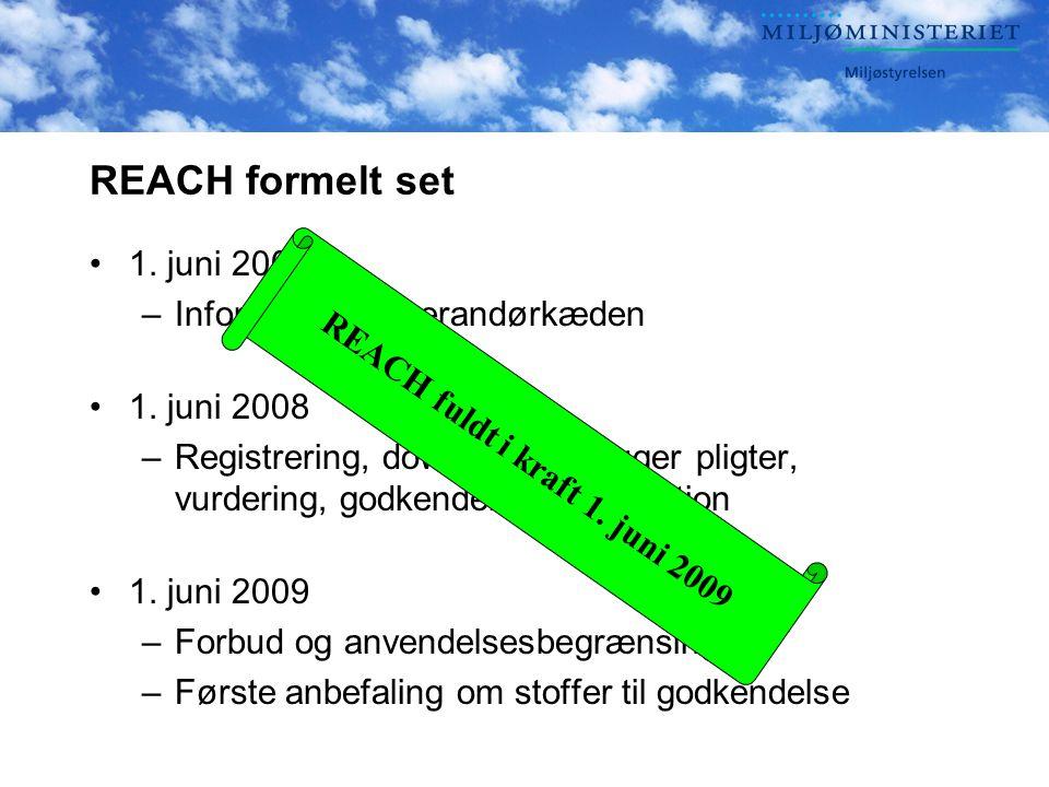 REACH formelt set •1. juni 2007 –Information i leverandørkæden •1.