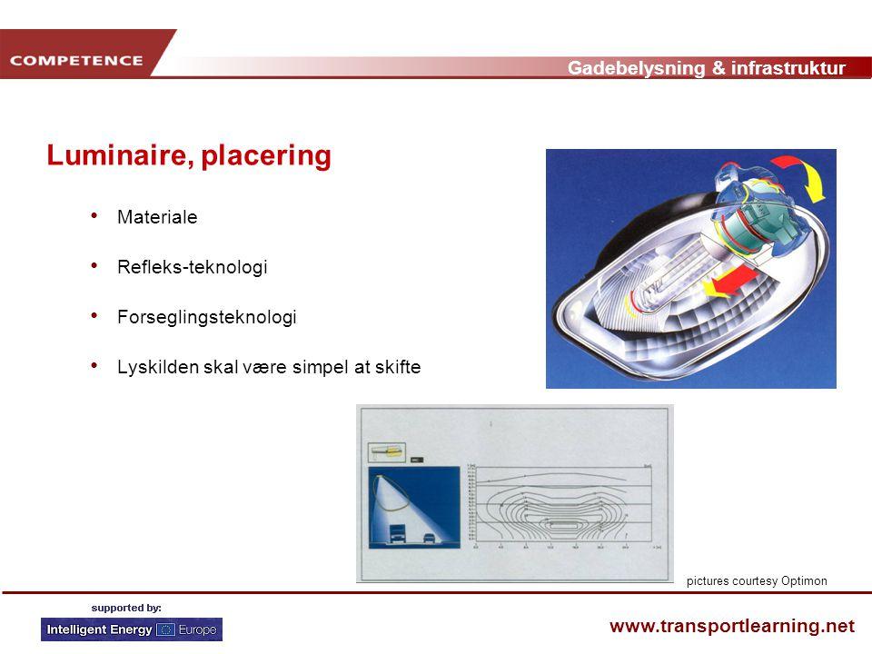 Gadebelysning & infrastruktur www.transportlearning.net Luminaire, placering • Materiale • Refleks-teknologi • Forseglingsteknologi • Lyskilden skal være simpel at skifte pictures courtesy Optimon