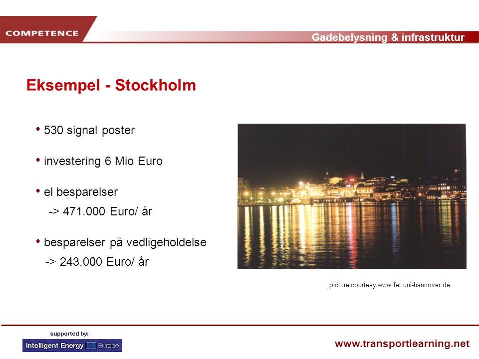 Gadebelysning & infrastruktur www.transportlearning.net Eksempel - Stockholm • 530 signal poster • investering 6 Mio Euro • el besparelser -> 471.000 Euro/ år • besparelser på vedligeholdelse -> 243.000 Euro/ år picture courtesy www.fet.uni-hannover.de
