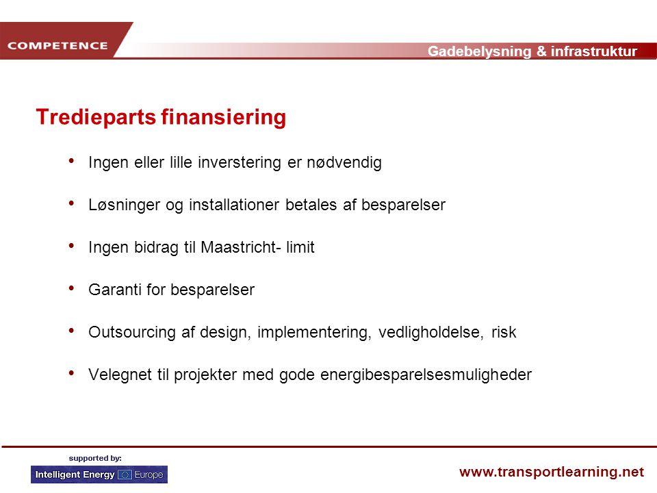 Gadebelysning & infrastruktur www.transportlearning.net Tredieparts finansiering • Ingen eller lille inverstering er nødvendig • Løsninger og installationer betales af besparelser • Ingen bidrag til Maastricht- limit • Garanti for besparelser • Outsourcing af design, implementering, vedligholdelse, risk • Velegnet til projekter med gode energibesparelsesmuligheder
