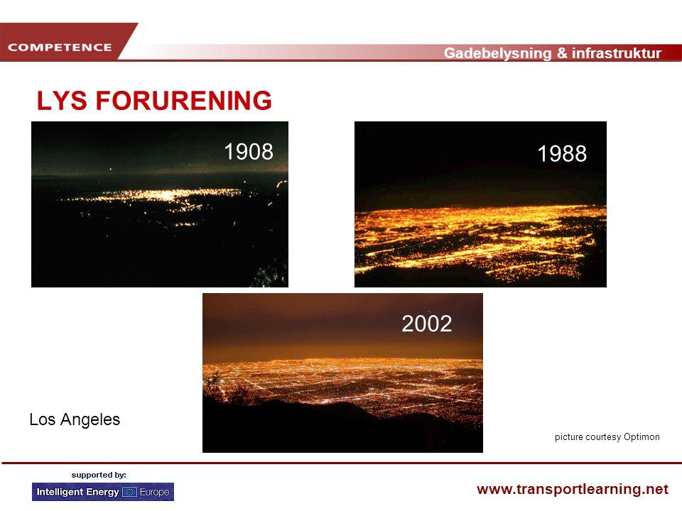 Gadebelysning & infrastruktur www.transportlearning.net LYS FORURENING Los Angeles 1908 1988 2002 picture courtesy Optimon