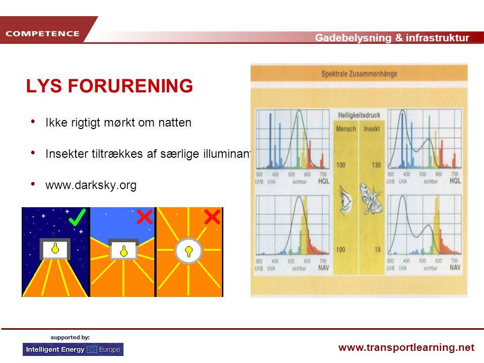 Gadebelysning & infrastruktur www.transportlearning.net LYS FORURENING • Ikke rigtigt mørkt om natten • Insekter tiltrækkes af særlige illuminanter • www.darksky.org