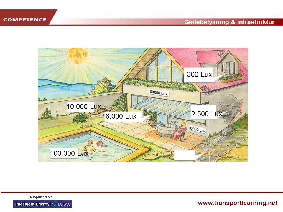 Gadebelysning & infrastruktur www.transportlearning.net 6.000 Lux 2.500 Lux 10.000 Lux 100.000 Lux 300 Lux