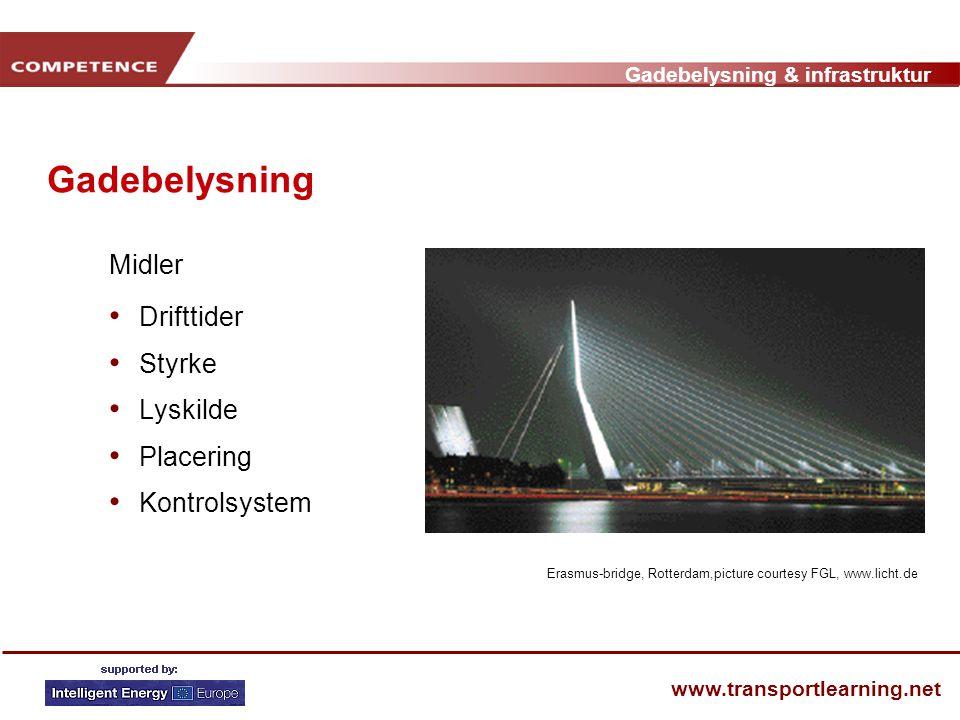 Gadebelysning & infrastruktur www.transportlearning.net Gadebelysning Midler • Drifttider • Styrke • Lyskilde • Placering • Kontrolsystem Erasmus-bridge, Rotterdam,picture courtesy FGL, www.licht.de