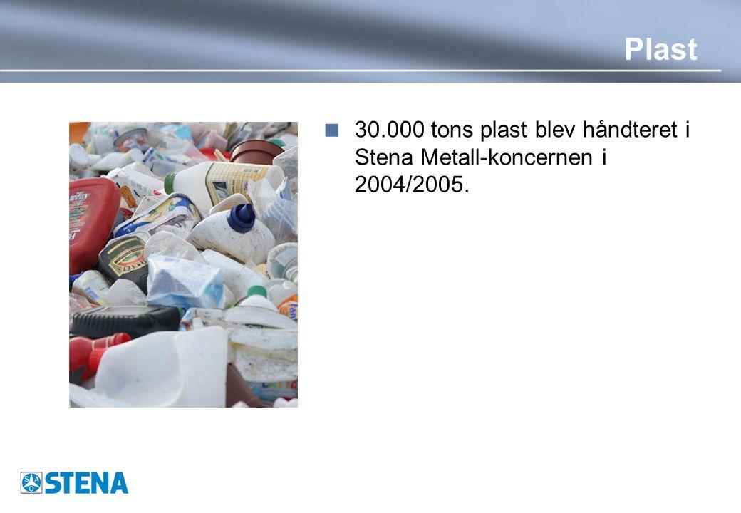 Plast  30.000 tons plast blev håndteret i Stena Metall-koncernen i 2004/2005.