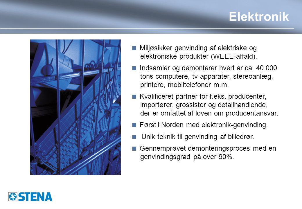 Elektronik  Miljøsikker genvinding af elektriske og elektroniske produkter (WEEE-affald).