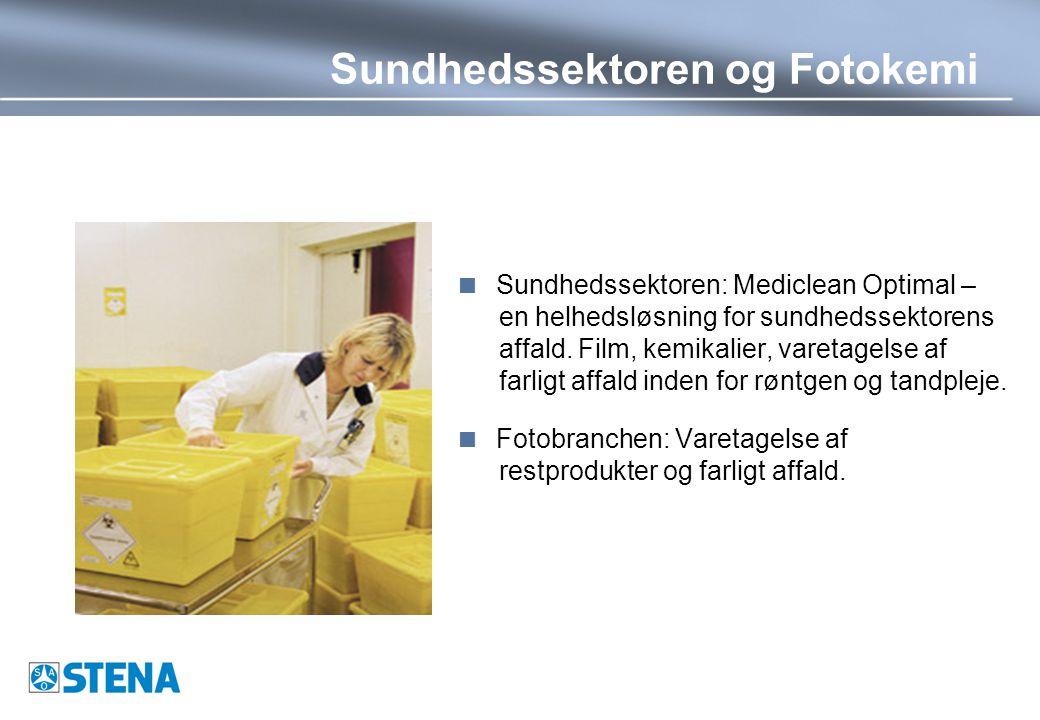 Sundhedssektoren og Fotokemi  Sundhedssektoren: Mediclean Optimal – en helhedsløsning for sundhedssektorens affald.