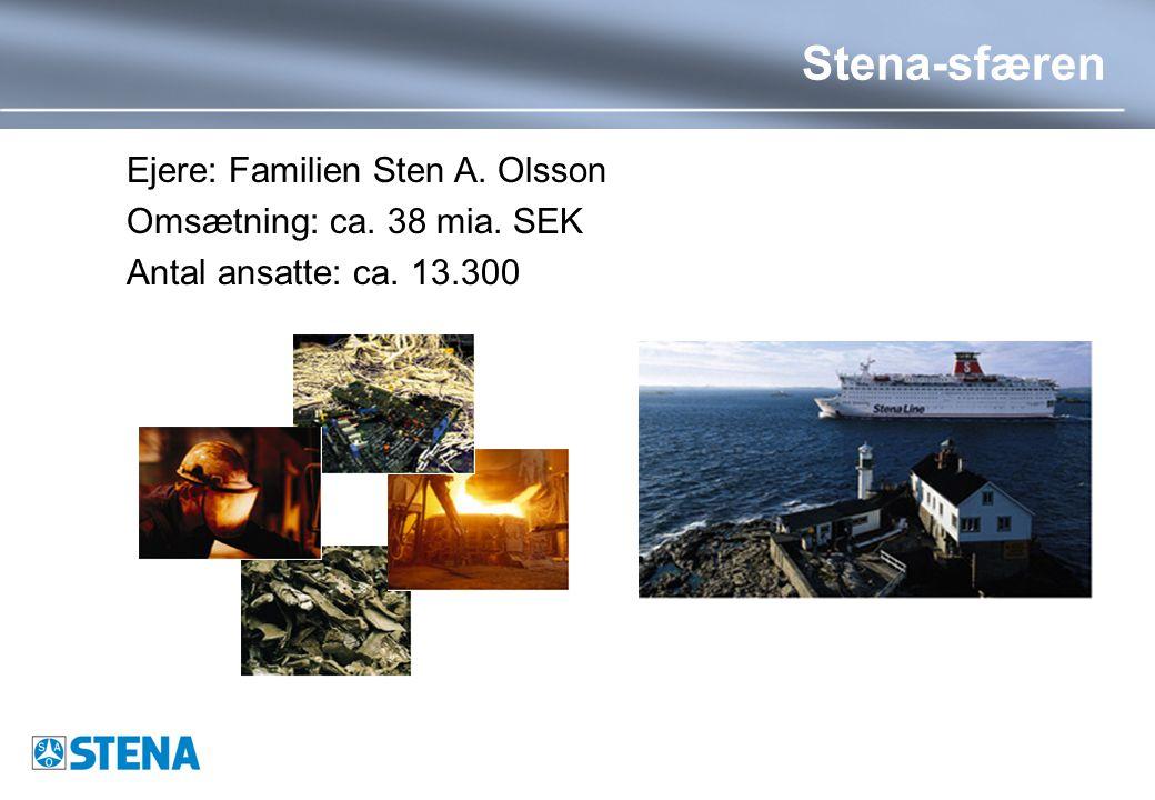 Stena-sfæren Ejere: Familien Sten A. Olsson Omsætning: ca. 38 mia. SEK Antal ansatte: ca. 13.300