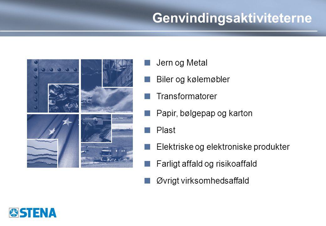 Genvindingsaktiviteterne  Jern og Metal  Biler og kølemøbler  Transformatorer  Papir, bølgepap og karton  Plast  Elektriske og elektroniske produkter  Farligt affald og risikoaffald  Øvrigt virksomhedsaffald