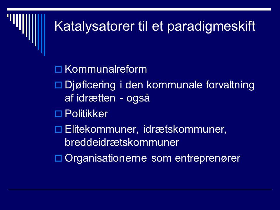 Katalysatorer til et paradigmeskift  Kommunalreform  Djøficering i den kommunale forvaltning af idrætten - også  Politikker  Elitekommuner, idrætskommuner, breddeidrætskommuner  Organisationerne som entreprenører