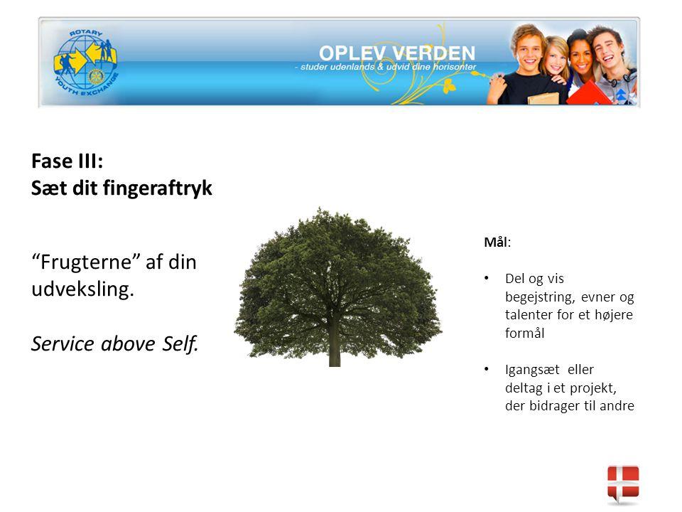 Fase III: Sæt dit fingeraftryk Frugterne af din udveksling.