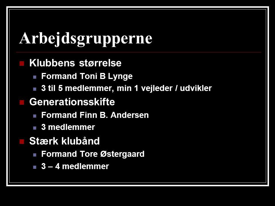 Arbejdsgrupperne  Klubbens størrelse  Formand Toni B Lynge  3 til 5 medlemmer, min 1 vejleder / udvikler  Generationsskifte  Formand Finn B.
