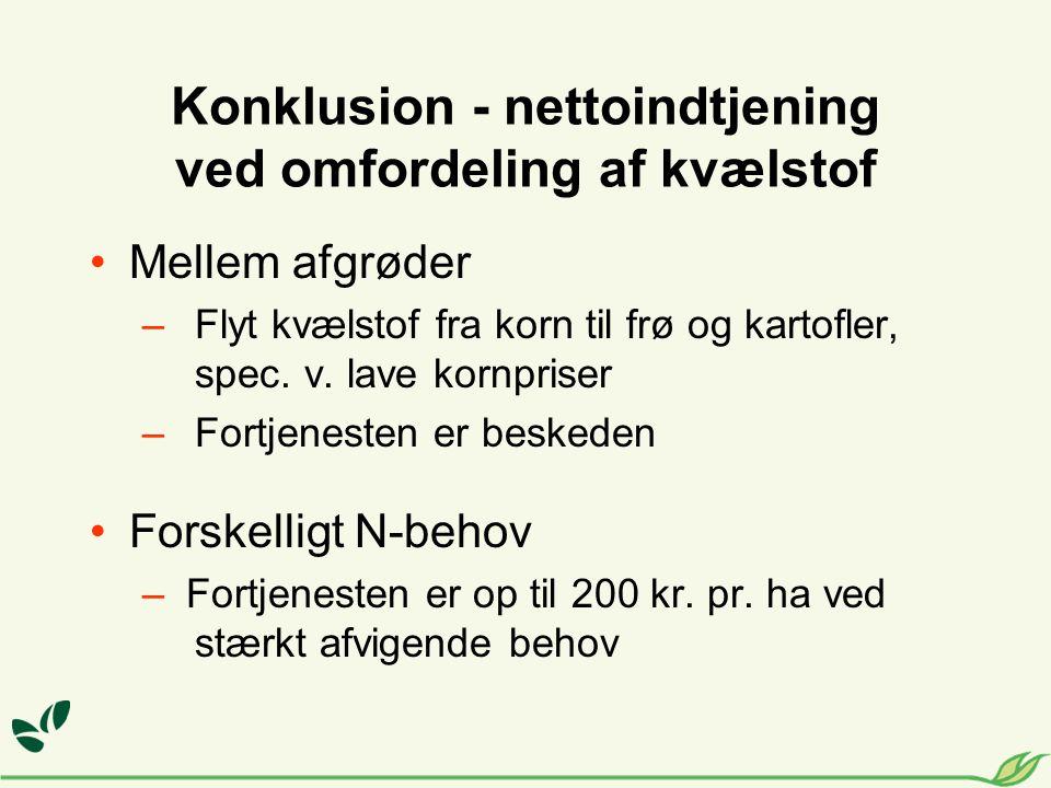 Konklusion - nettoindtjening ved omfordeling af kvælstof •Mellem afgrøder –Flyt kvælstof fra korn til frø og kartofler, spec.