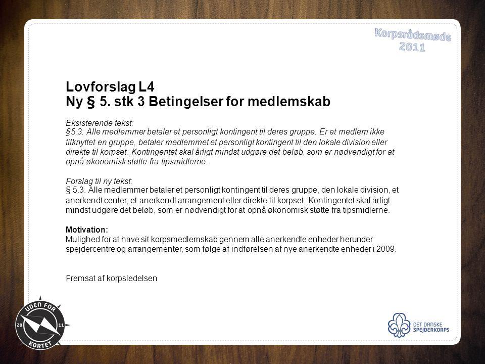 Lovforslag L4 Ny § 5. stk 3 Betingelser for medlemskab Eksisterende tekst: §5.3.