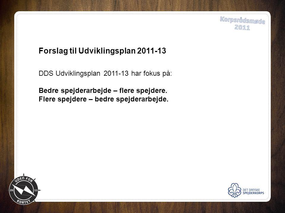 Forslag til Udviklingsplan 2011-13 DDS Udviklingsplan 2011-13 har fokus på: Bedre spejderarbejde – flere spejdere.