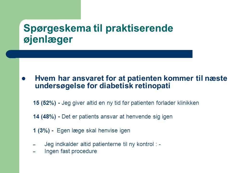 Spørgeskema til praktiserende øjenlæger  Hvem har ansvaret for at patienten kommer til næste undersøgelse for diabetisk retinopati 15 (52%) - Jeg giver altid en ny tid før patienten forlader klinikken 14 (48%) - Det er patients ansvar at henvende sig igen 1 (3%) - Egen læge skal henvise igen – Jeg indkalder altid patienterne til ny kontrol : - – Ingen fast procedure