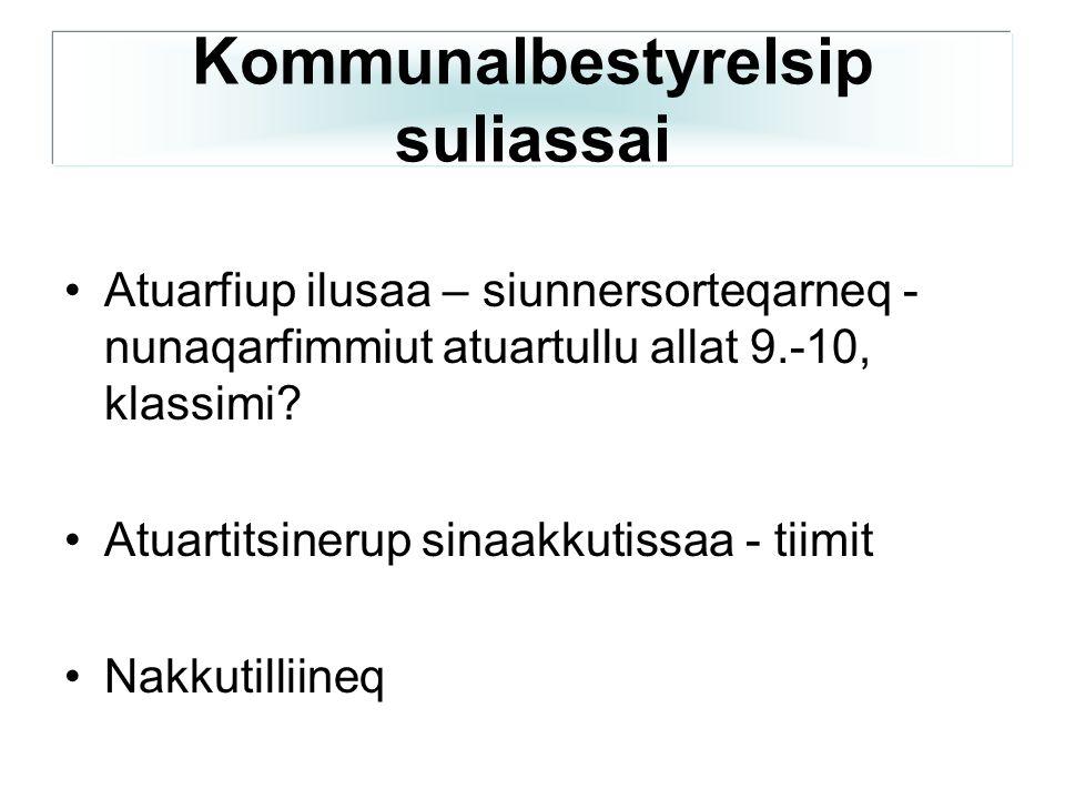 •Atuarfiup ilusaa – siunnersorteqarneq - nunaqarfimmiut atuartullu allat 9.-10, klassimi.