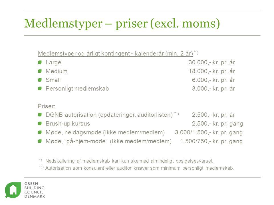 Medlemstyper – priser (excl. moms) Medlemstyper og årligt kontingent - kalenderår (min.