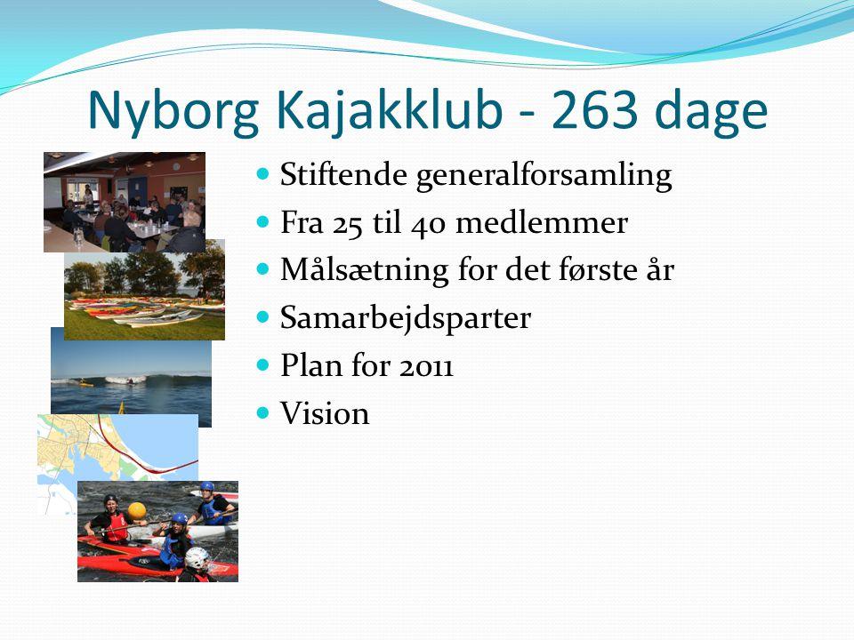 Nyborg Kajakklub - 263 dage  Stiftende generalforsamling  Fra 25 til 40 medlemmer  Målsætning for det første år  Samarbejdsparter  Plan for 2011  Vision