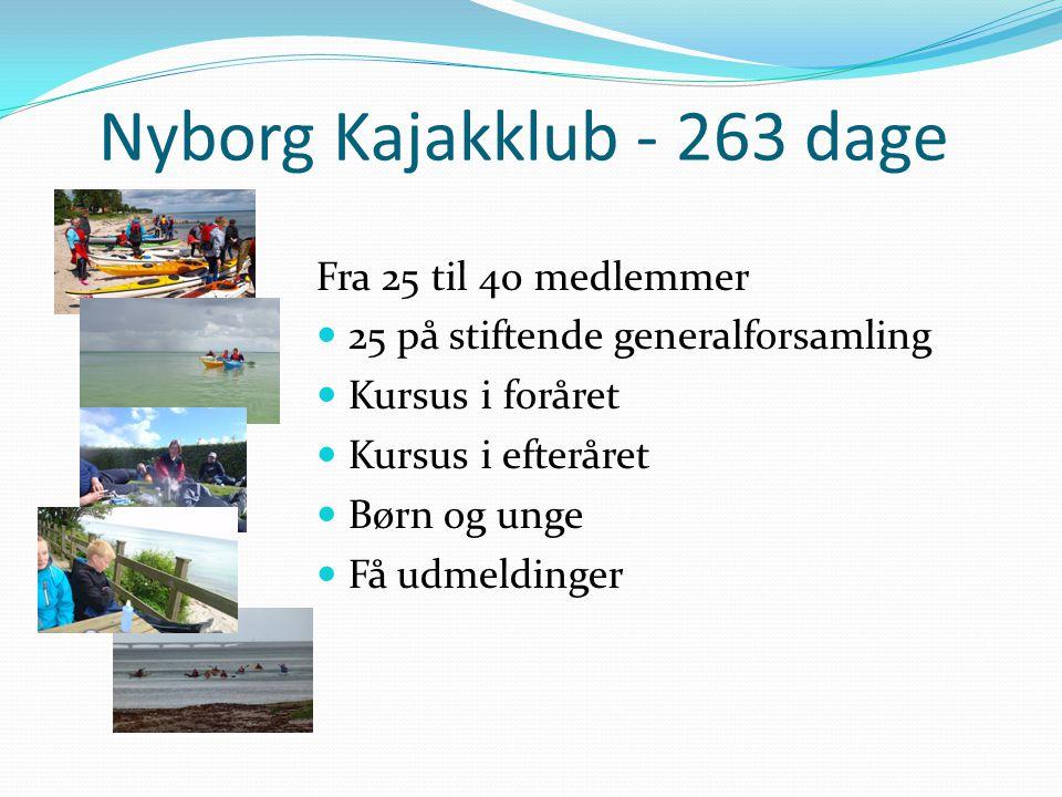 Nyborg Kajakklub - 263 dage Fra 25 til 40 medlemmer  25 på stiftende generalforsamling  Kursus i foråret  Kursus i efteråret  Børn og unge  Få udmeldinger